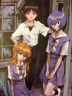 Asuka, Shinji and Rei Neon Genesis Evangelion, Evangelion Meme, Manga Art, Manga Anime, Anime Art, Asuka Langley, Rei Ayanami, Another Anime, Manga Covers
