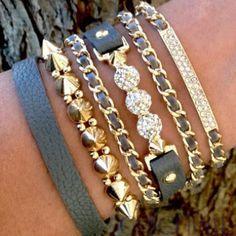 grey + gold arm party bracelet