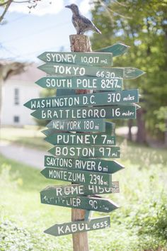 signage pointing to all the important places in this couples life Photography by Paper Antler / paperantler.com