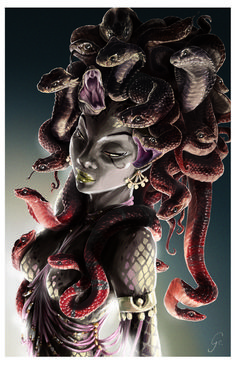 Medusa by Claire Gary Medusa Gorgon, Medusa Art, Medusa Tattoo, Medusa Painting, Arte Horror, Horror Art, Mythological Creatures, Fantasy Creatures, Mythical Creatures