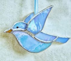 Blue stained glass bird. 3D glass window hanging ornament, garden decor, suncatcher ornament, gift for mom, grandmom gift, gift for friend.
