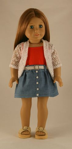 American Girl Doll Clothes  Custom Order for by Forever18Inches --- make the skirt a hair longer and the tank top a light, cool, color and Dani would enjoy wearing this.