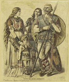 A dated depiction of a Germanic family, c. 300. Illustration from Costumes of All Nations (1913).