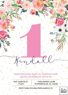 Butterfly birthday invitation pink and gold first birthday flower birthday invitation first birthday by luckyplumstudio filmwisefo