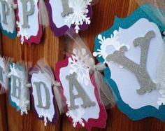 Banner cumpleaños congelados por CelebrationBanner en Etsy