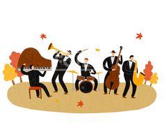 #유토이미지 #프리진 #utoimage #freegine,ILL163, 프리진, 일러스트, ILL163, 페스티벌, 축제, 행사, 단체, 그룹, 사람, 캐릭터, 남자, 남성, 중년, 청년, 공연, 연주, 음악, 콘서트, 밴드, 재즈, 나팔, 트럼펫, 섹소폰, 피아노, 드럼, 첼로, 악기, 나무, 낙엽, 단풍잎, 은행잎, 정장, 모자, 가을, 계절, 앉아있는, 서있는, 즐거운, 생활