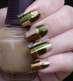nail art - nail design - Elegant Squares Manicure featuring SpaRitual Optical Illusion, Conduit and Back To Your Roots