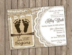 Rustic Gender Neutral Baby Shower invitation with Burlap, Lace, Twine, String of Lights and Baby Footprints - printable 5x7