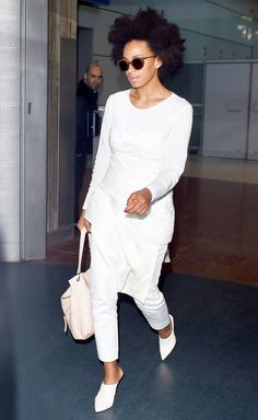 Solange Knowles in head-to-toe white + mules