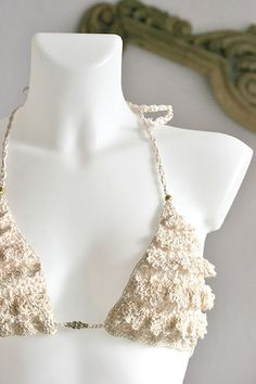 Luxurious Crochet bikini in cream with lace ruffles on the top and the bottom. Made of high quality viscose/cotton thread with metal gold thread. Retro, romantic chic style. Sure to be a favorite on the beach or at the pool. Very famine item especially for the woman with small size. The bra