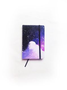 Original notebook made in acrylic technique with galaxy painting. I used acrylic, non toxic paint for painting and decoupage glue which prevents it from Galaxy Notebook, Small Notebook, My Notebook, Etsy Handmade, Handmade Items, Decoupage Glue, Black Rubber Bands, Handmade Notebook, Galaxy Painting