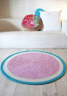 Round Rug floor crochet 100cm por lacasadecoto
