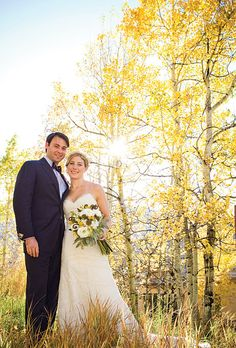 """We wanted a warm, rustic fall wedding,"" says Ellie, ""and no location fit our vision better than Colorado. I went to college there, and Nick enjoys going fly-fishing out West."" Click thru to see more from their wedding. (IN Photography)"