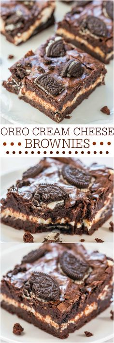 Oreo Cream Cheese Brownies - Fudgy brownies with a layer of cream cheese and tons of Oreos! They'll be your new favorites! Tried these, wasn't totally convinced, but they were good if you really like dark chocolate. Yummy Recipes, Baking Recipes, Sweet Recipes, Recipies, Brownie Recipes, Cookie Recipes, Dessert Recipes, Just Desserts, Delicious Desserts
