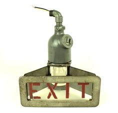 We have for sale a vintage Crouse/Hinds Explosion-Proof Exit sign! This is the very last of seven Crouse Hinds light-fixture exit signs that we've sold this year.