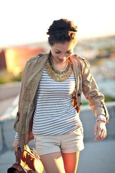 stripes & a statement necklace