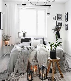I think I like a cozy gray throw on white bed