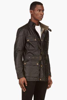 fcf96dd3bf72 BELSTAFF Black Roadmaster Belted Rain Jacket Waxed Cotton Jacket