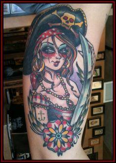 Pin Up Pirate Tattoo - Eric Kuiken - http://inkchill.com/pin-up-pirate-tattoo/