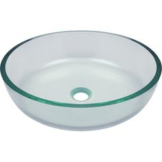 "Polaris 16 1/2"" Glass Round Bathroom Vessel Sink - Clear P526 The P526 clear vessel sink is manufactured using fully tempered glass. This allows for higher temperatures to come in contact with your si"
