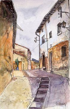 Watercolor and Pen:  Cuesta del Castillo. MIranda de Ebro----Adolfo Arranz