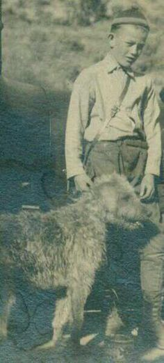 John Wayne as a boy with his Airedale, Little Duke. This is where his nickname came from.