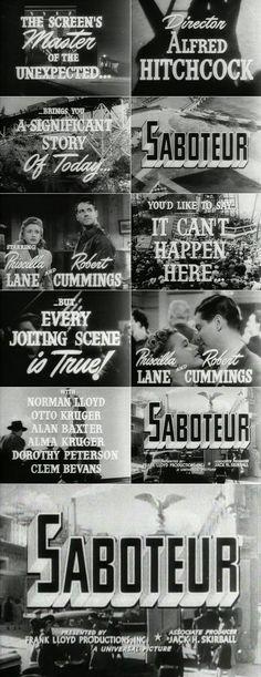 Saboteur (1942) trailer typography | 1942 | Pinterest
