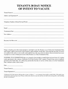 Letter to Landlord Moving Out Beautiful 30 Day Notice to Vacate Template Printable Letter Templates, Cover Letter Template, Free Printable, Termination Of Tenancy, Move Out Notice, 30 Day Eviction Notice, Fall Coloring Pages, Gift Certificate Template, Letter Example