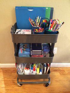 School Work Organization, Room Organization, Kids Homework, Homework Station, Modern Kids Desks, Projekt Mc2, Ikea Raskog Cart, Crate End Tables, Kids Study