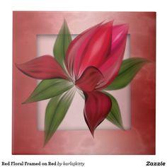 Red Floral Framed on Red Ceramic Tile