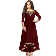 Brown Georgette plain stitched kurti online available at Mirraw.com
