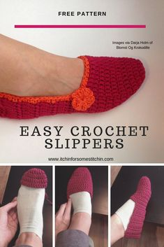 Easy Beginner Crochet Slippers, crochet slippers designed in multiple sizes for women ( US, EU, UK) so that any lady can have a comfortable and fashionable set of slippers to w. Easy Crochet Slippers, Crochet Slipper Pattern, Crochet Socks, Crochet Clothes, Crochet Puff Flower, Crochet Flower Patterns, Crochet Designs, Crochet Flowers, Crochet Ideas