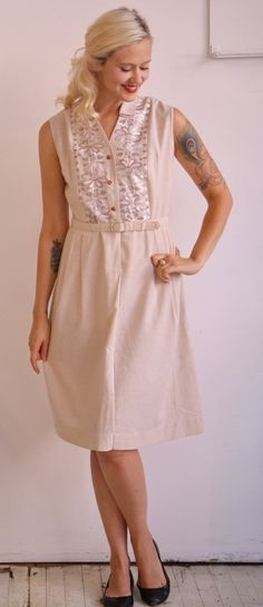1960s Vintage // Pale Pink Embroidered Day by dethrosevintage, $48.00