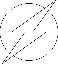 The Flash superhero logo. Add another outer circle and you're good to go with this design. From WeColoringPage.
