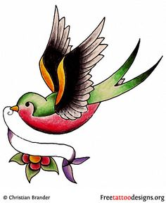 Swallow and banner tattoo design