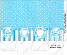 Light Blue Crown in Stripes and Polka Dots  Free Printable Boxes for a Quinceanera Party. Diy Quinceanera Decorations, Quinceanera Themes, Birthday Party Decorations, Printable Box, Free Printables, Champagne Quinceanera Dresses, Dots Free, Box Invitations, Diy Centerpieces