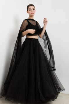 Black lehenga in tulle with an embroidered crop top