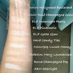 Highlighters: Wet n Wild Hollywood Boulevard and Rosè Champagne Glow, ELF Moonlight Pearls, Pinktastic, and Gotta Glow, Hard Candy Tiki, Colourpop Lunch Money, theBalm Mary Loumanizer, Becca Champagne Pop, and Anastasia Beverly Hills Starlight. Hard to see how beautiful and glowy they are but it's a good comparison of their colors. Follow my instagram @mellyfmakeup for more!