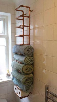 DIY Home Decor featuring a copper towel rack