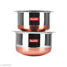 Pots 22 Gauge Copper Bottom Tope with lid Set of 2 Piece (Size: 3 Ltr,2.1 Ltr) Material: Stainless Steel Pack: Pack of 2 Length: 22 cm Breadth: 22 cm Height: 11 cm Size (in ltrs): 5 L Country of Origin: India Sizes Available: Free Size   Catalog Rating: ★4 (1369)  Catalog Name: Unique Pots CatalogID_3249446 C137-SC1596 Code: 307-16314081-1371