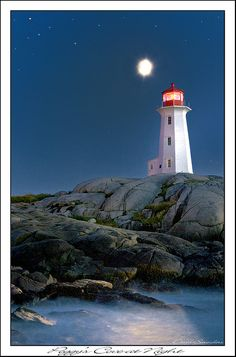 Moon over Peggy's Cove. Everyone who comes to Nova scotia visits Peggys is a rocky, wild, slice of Nova scotia Lighthouse Pictures, Lighthouse Art, Lighthouse Keeper, East Coast Canada, Moon Shadow, Atlantic Canada, Photo Images, Stormy Sea, Beacon Of Light