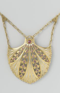 -Art Nouveau gold, enamel and ruby pendant necklace, by Lodewijk Willem van Kooten, Amsterdam, 1908-1911.