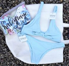 Baby Blue. #HALEYRAYESWIMWEAR Baby Blue, Bikinis, Swimwear, Fashion Trends, Shopping, Bathing Suits, Swimsuits, Bikini, Bikini Tops
