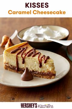 This caramel-topped cheesecake is a delicious way to savor the goodness of cream cheese for the holidays! Try this KISSES Caramel Cheesecake recipe from HERSHEY'S Kitchens for the perfect dessert for any holiday party. Get the recipe today.