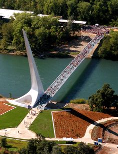 The Sundial Bridge at Turtle Bay, Redding, Shasta, California spans the Sacramento River. The triangular blade is a sundial. The shadow cast is exactly accurate on only one day in a year – the summer solstice, June 20 or 21. The tip of the shadow moves at approximately one foot per minute so that the Earth's rotation about its axis can be seen with the naked eye.
