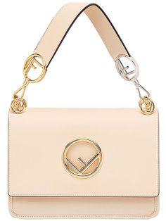 62aaa6fe3752 Buy Fendi Kan I FF Logo Plaque Pale Pink Leather Shoulder Tote Bag  8bt2842ihf 11rw online