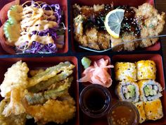 Bento combo with chicken, tempura vegetables, and California roll #HydePark #HydeParkChicago #MyHydePark
