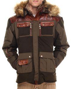 Summit Faux Fur Hoody Jacket (patch detail) Men's Outerwear from Pelle Pelle.