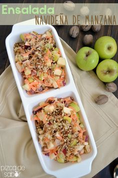 Ensalada navideña de manzana - versión ligera y saludable  www.pizcadesabor.com