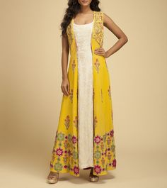 White Yellow Georgette & Crepe Embroidered Dress With Jacket
